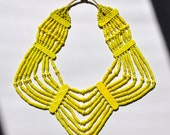 Neon Yellow Bib Necklace