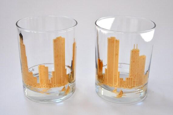 Chicago Skyline Rocks Glasses