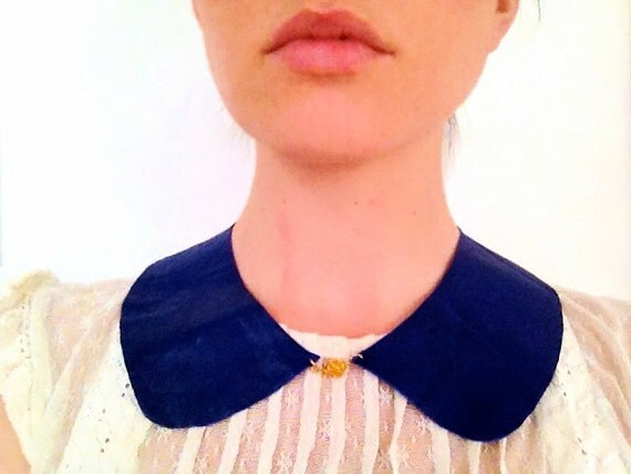 Adorable Reversible Leather/Suede BIB, Peter Pan Collar, Blue Handmade Necklace with Round decorative Gold Clasp