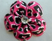 Flower Petal Bow--Pink and Black Leopard Print