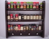 EXTRA Large Spice Rack - Wall Hanging - Espresso (non-rustic) - Other Colors Avail.