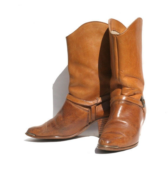 tan leather mid calf boots size: 6.5