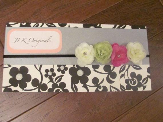 Black skinny headband with White, Pink and Green Petite Flowers - Photo Prop, Ready to ship