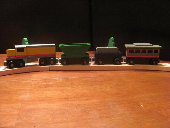 Handmade Wooden Toy Train - Freight Train - 4 cars, handpainted