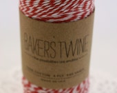 160 yards Red and White Bakers Twine wound on a spool