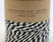 240 yards Black and White Bakers Twine wound on a spool