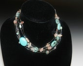 Wire Knotted Beaded Necklace, Silver Plated Wire with Turquoise and Pink Beads by Jewelry by JDH