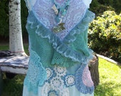 Upcycled Bohemian Gypsy Fairy Aqua Lingerie Tunic Top