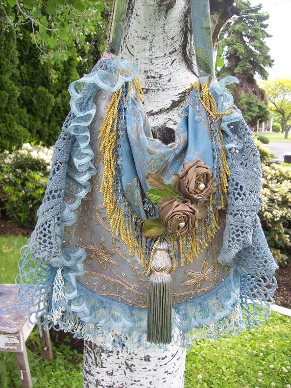 Blue Bohemian Gypsy Hippie Shoulder Bag Silk Purse
