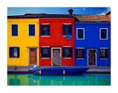 Venice Italy Murano Photograph Color Houses Canal Travel Water Red Yellow Blue