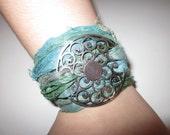 SILK WRAP BRACELET----Sari Silk Bracelet with Large Silver Swirl Pendant---Green