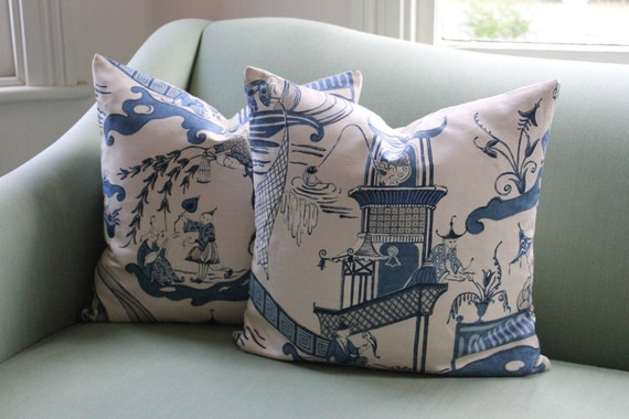 """20"""" Pair of Chinoiserie Sanderson Cushion Covers"""