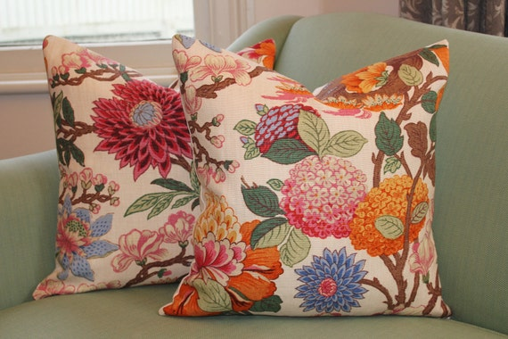 GP & J Baker Magnolia Cushion Covers. 18 inch