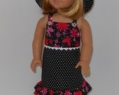 RESERVED   Sundress, hat and shoes for 18 inch dolls