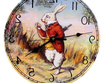 Alice in Wonderland  White Rabbit  Backwards Clock Made in the USA.