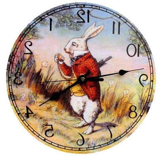 Alice in Wonderland  White Rabbit  Backwards Clock Made in the USA.