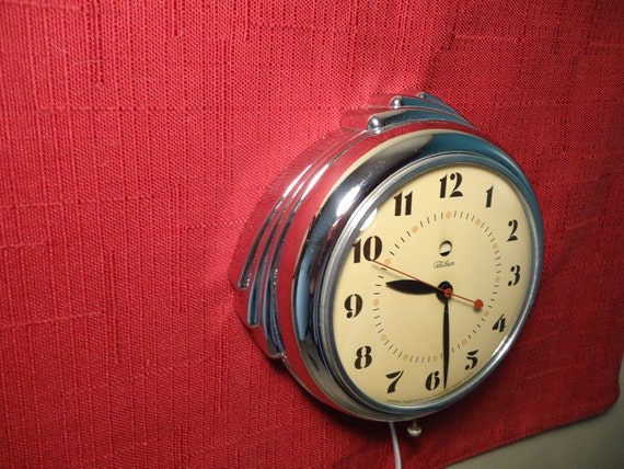 1940s Chrome Wall Clock-RESTORED