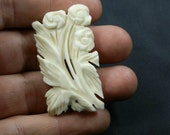 Antique real Ivory carved Brooch. Flowers and leaves. Fantastic piece.