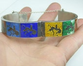 Vintage Siam Enamel 925 sterling silver Bracelet. Dancers. Multi colored. Clasp. Very unique.