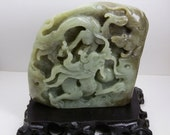 RESERVED for Suzanne. Hetian Jade Dragon and Rat Carving Statue with wood stand. 108mm tall.