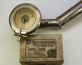 ON SALE. Was 90. Antique SilverTone Reproducer, Tone arm and box of Loud Tone Steel Needles. For antique Phonographs.