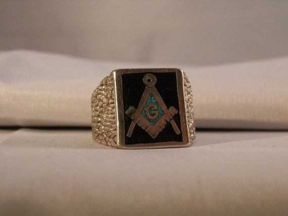 Vintage Masonic Sterling Silver, Onxy and Turquoise ring. Size 10.75