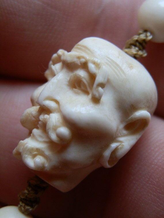 RESERVED for Amanda. Japanese Carved Elephant Ivory Necklace. Pre-Ban. Exceptional piece.