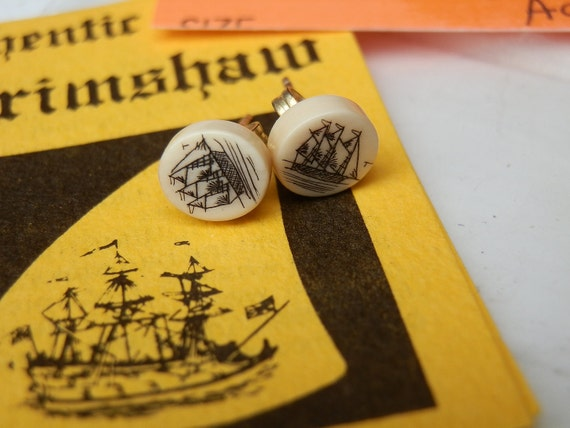 Authentic pre ban Ivory Hawaiian Scrimshaw earrings with original documents. Ship design.
