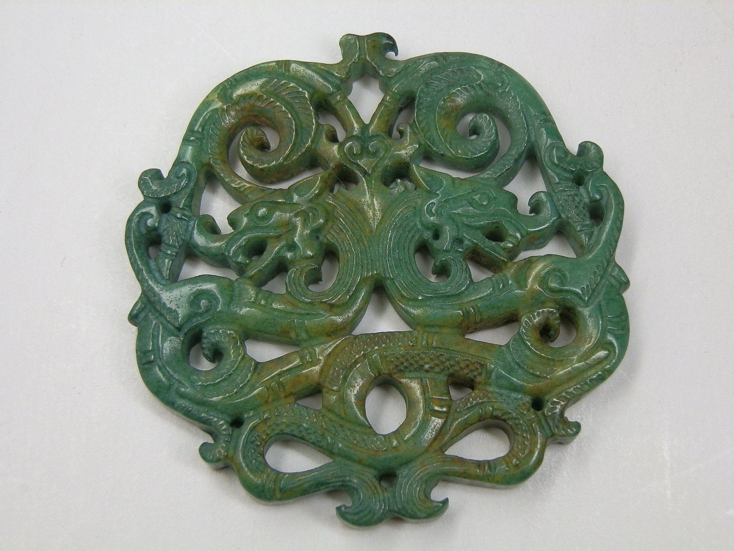 Chinese Jade Amulet Dragons Carved On Both Sides Green