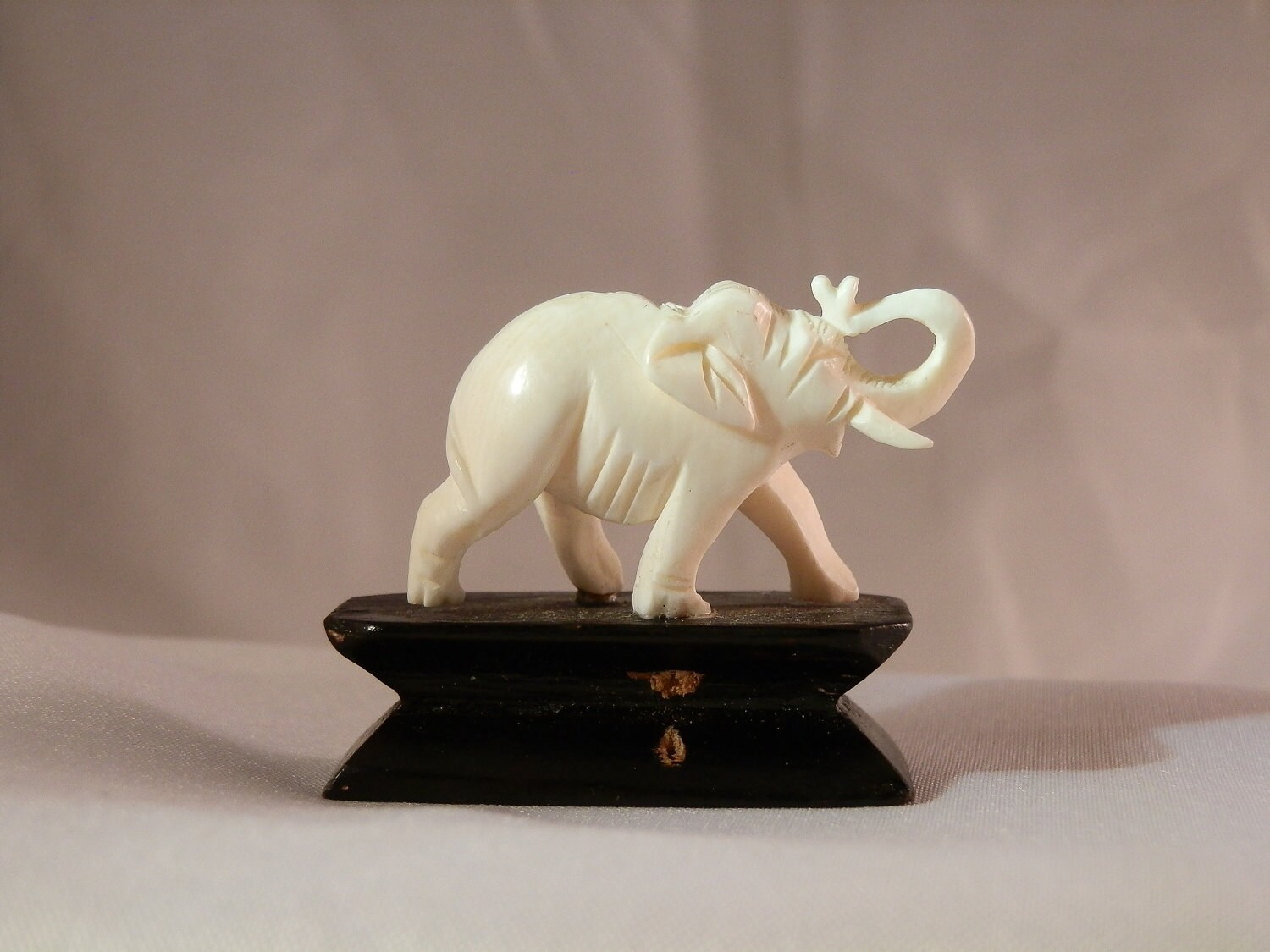 Pre Ban Ivory Elephant Carving On Attached Stand 39x32x12mm