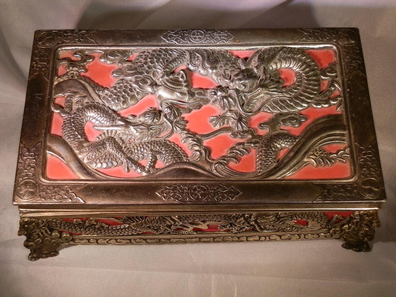 Jewelry Box Vintage Dragon Japanese Ornate Designs On All