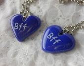 Fused Glass Heart Pendant - Best Fiend Necklace- BFF Necklace-BFF Pendant-Fused Glass Jewelry Etched Jewelry