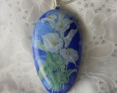 Fused Glass Pendant, Calla Lily Fused Glass Pendant, Fused Glass Jewelry,Calla Lily Necklace Blue