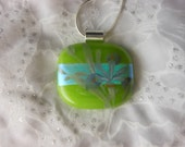 Dicroic Fused Glass Pendant Necklace Fused Glass Jewelry Green Dicroic Pendant