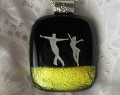 Dance Pendant Necklace Dicroic Fused Glass Pendant