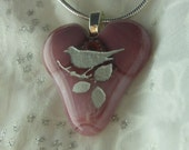 Fused Glass Heart Pendant, Heart Necklace, Pink Heart Fused Glass Jewelry, Etched Bird