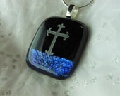 Dicroic Fused Glass  Pendant Necklace,Fused Glass Pendant Necklace, Cross Jewelry, Cross Pendant Necklace