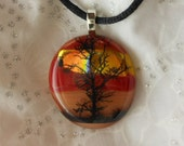 Dicroic Fused Glass Pendant Necklace, Fused Glass Jewelry,  Tree  Pendant