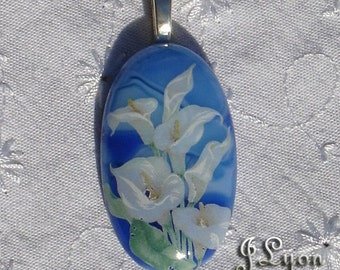 Fused Glass Pendant and Necklace with Blue Glass and Calla Lily Decal