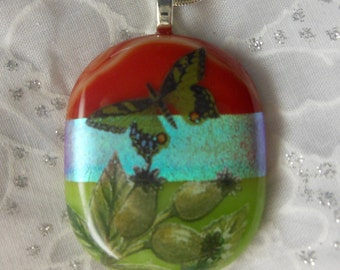 Fused Glass Pendant- Dicroic Glass Pendant-Fused Glass Jewelry-Butterfly necklace-Fused Dicroic Glass Jewelry