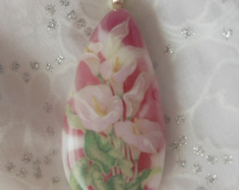 Pink Fused Glass Pendant Necklace with Calla Lily Decal