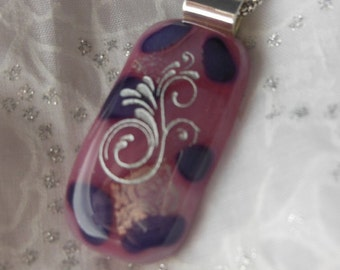 Dicroic Fused Glass Jewelry Dicroic Pendant Nacklace Fused Glass Jewelry Etched Scroll