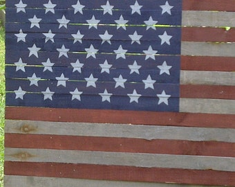 Americana Flag 50 Star Wood Lath Flag