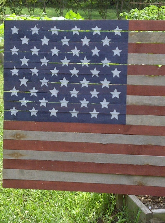 Americana Flag 50 Star Wood Lath Flag