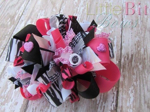 Zebra Print and Pink Boutique Funky Bow