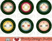 Retro Vinyl 45 Record Colored Images Digital Clip Art Vintage Music