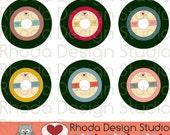 Retro Vinyl 45 Record Colored Images Digital Clip Art Vintage Music