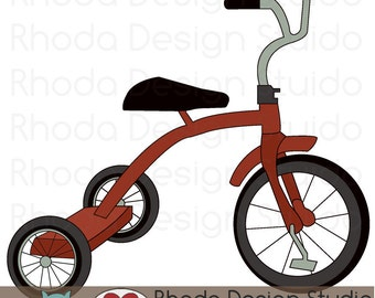 Retro Tricycle Bike (Red) Digital Clip Art Vintage Bicycles Stamps