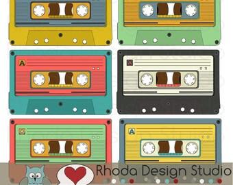 Retro Cassette Tapes Colored Images Digital Clip Art Vintage Music