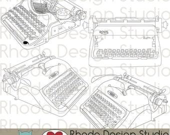Vintage Typewriters Digital Clip Art Retro stamps